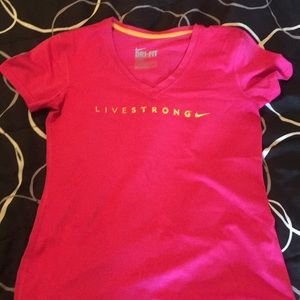 Nike pink T-shirt livestrong v neck small